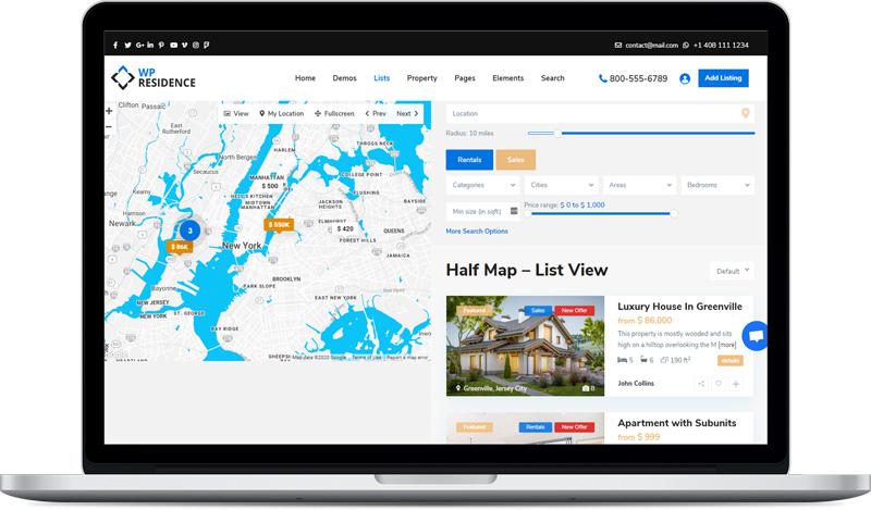 صفحه جستجوی مجهز به نقشه گوگل